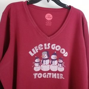 Life Is Good Shirts - LIFE IS GOOD Men's Size XXL Lounge L/S Red T-Shirt